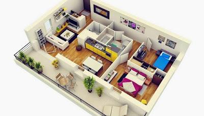 Gambar Desain Interior Rumah Tipe 36 Luas 60 Minimalis Modern Teras Samping