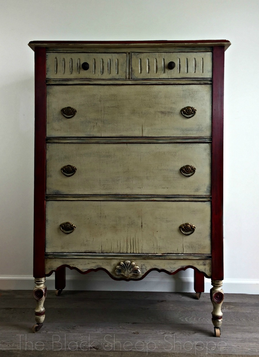 Vintage dresser painted with Emperor's Silk and Country Grey