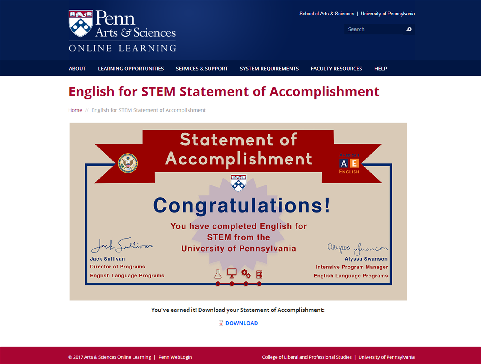 English for Science, Technology, Engineering, and Mathematics (STEM) Statement of Accomplishment