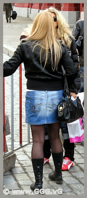 Girl wearing denim skirt
