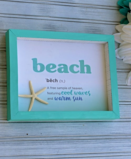Beach Shadow Box Quote Sign