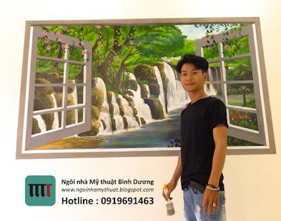 Vẽ tranh tường 3D ô cửa sổ tại khách sạn ChezMimosa Quận 1 TPHCM