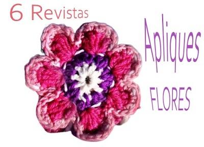 6 Revistas de Flores a Crochet apliques para creaciones