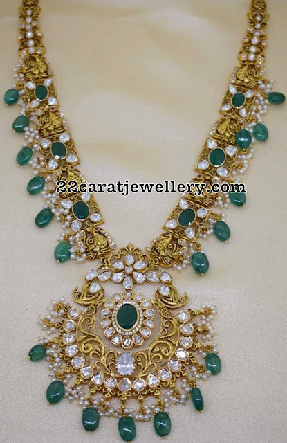Flat Diamond Peacock Trendy Necklace