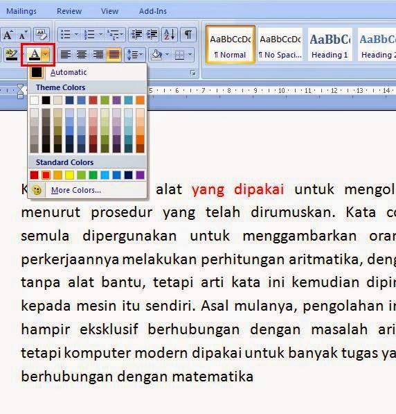 Cara Memberi Warna Font Pada Ms.Office Word