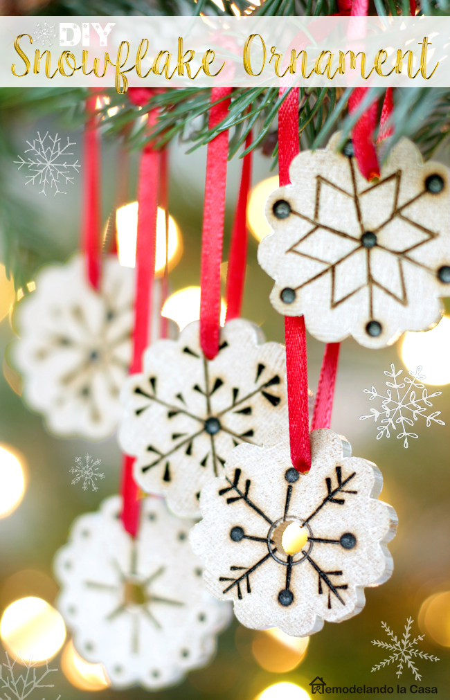 wood burning ornaments, snowflakes,