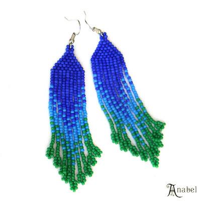 Сине-зелёные серьги из бисера какие серьги купить серьги из бисера фото серьги длинные висячие