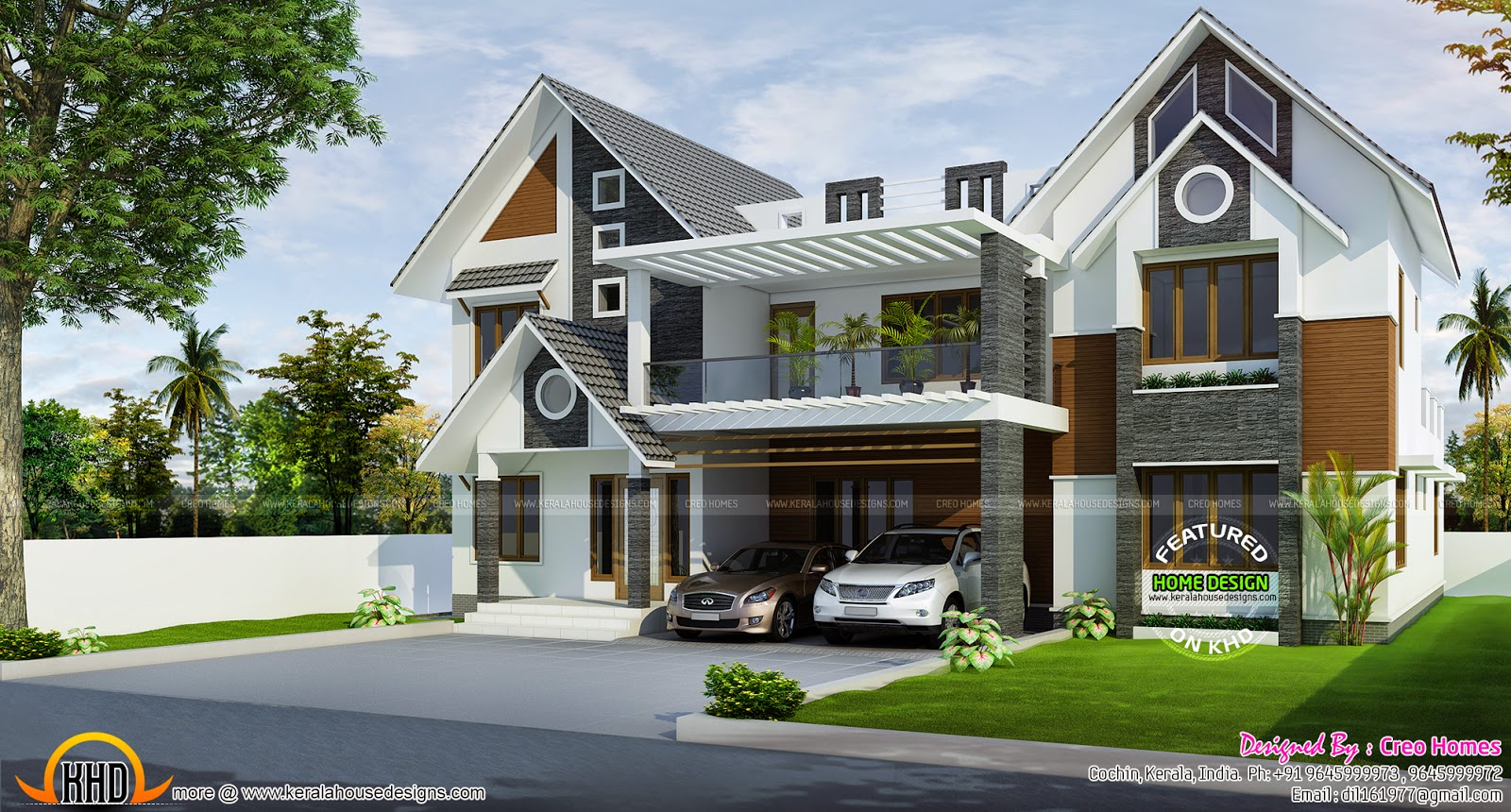 Modern sloped roof home kerala home design and floor plans for Slope home design