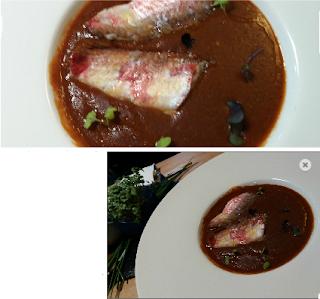 Sopa de cigalas con lomo de salmonete. Restaurante Pando. El Tapeador: tapas en Sevilla