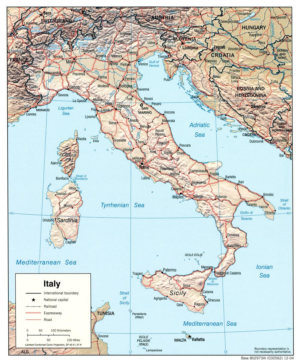 Kaart Italie Provincies Vakantie Kaart Italie Topografie