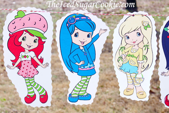 Strawberry Shortcake Birthday Party DIY Flag Bunting Garland Banner Idea-Blueberry Muffin, Lemon Meringue, Cherry Jam, Orange Blossom, Plum Pudding, Raspberry Torte