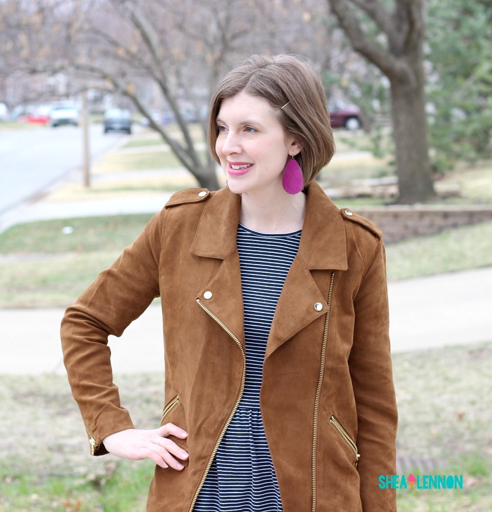 6432adf10e Black knit moto jacket  Old Navy (pink faux suede option...I m dying!)
