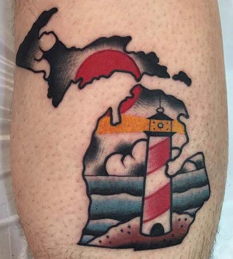 Esta maravilhosamente ilustrado estado de michigan tatuagem