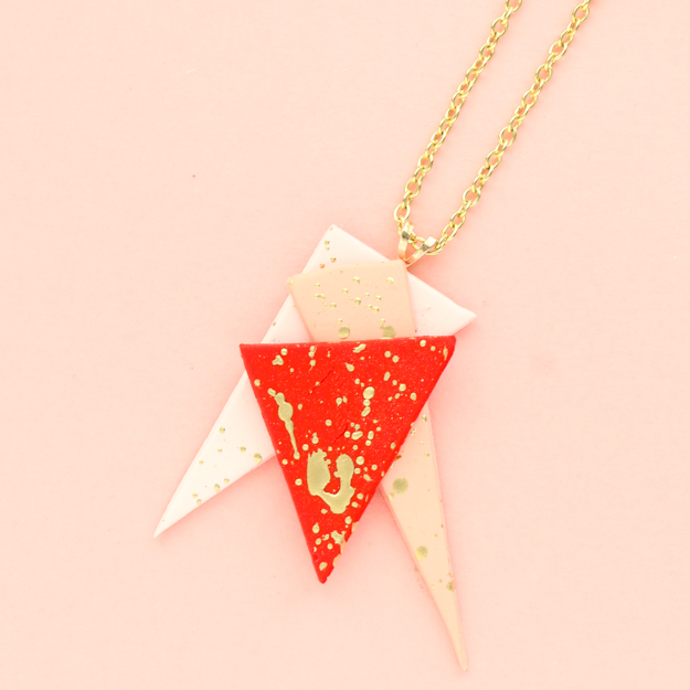 DIY Jewelry - Gold Splatter Painted Asymmetric Necklaces - craft jewelry clay - premo -sculpey - Color - jewelry craft ideas - necklace DIY - splatter paint trend