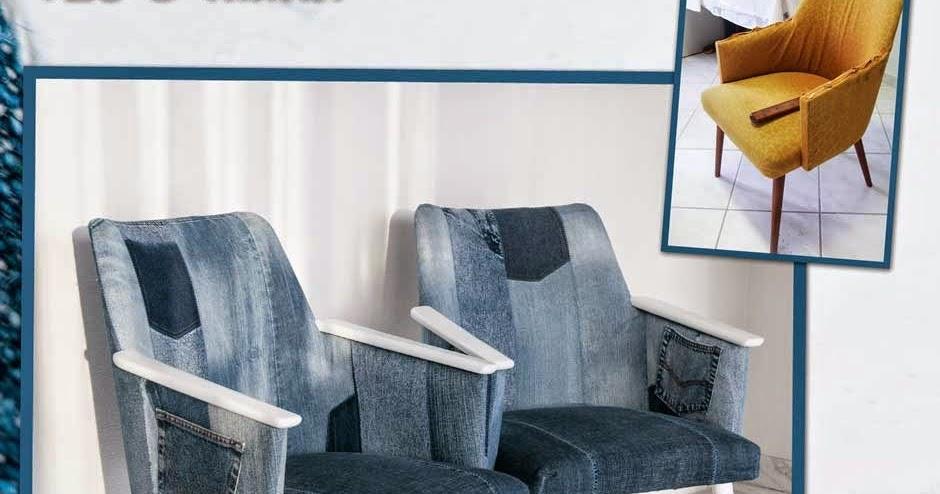 123-Nadelei: 50er Jahre Sessel Mit Jeanshosen Polstern