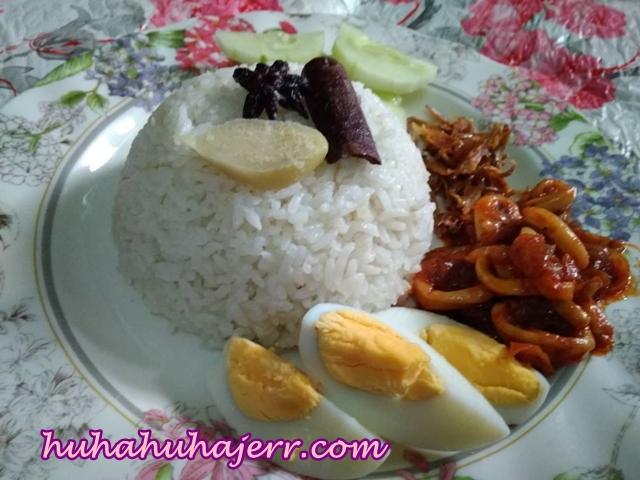 Resepi Nasi Lemak Sotong, Juadah Pagi Minggu Yang Sedap