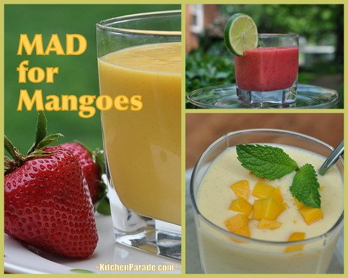 Mad for Mangoes! ♥ KitchenParade.com, two mango smoothies, a mango celebration. One is an Indian-style Mango Lassi, the other an earthy mix of mangoes and beets.