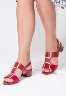 Sandale rosii din piele naturala cu argintiu Silvia