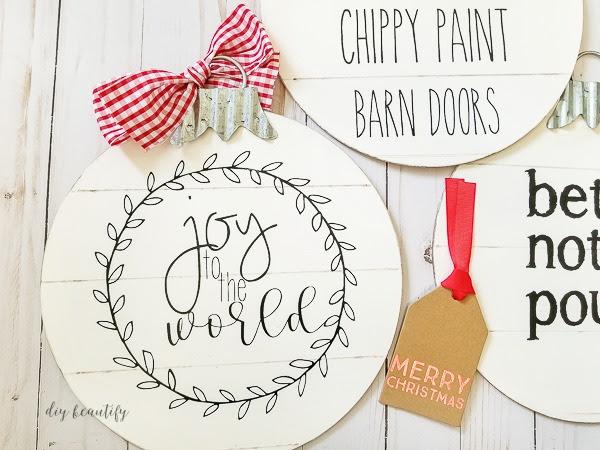 Dollar Store Shiplap Ornaments - Cozy at Christmas