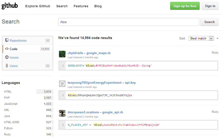 RaiderSec: Automatically Enumerating Google API Keys from Github Search