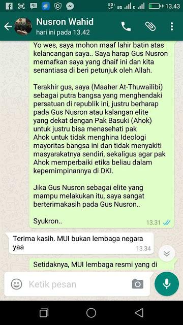 Maaher At Thuwailibi Menghina Nusron Wahid