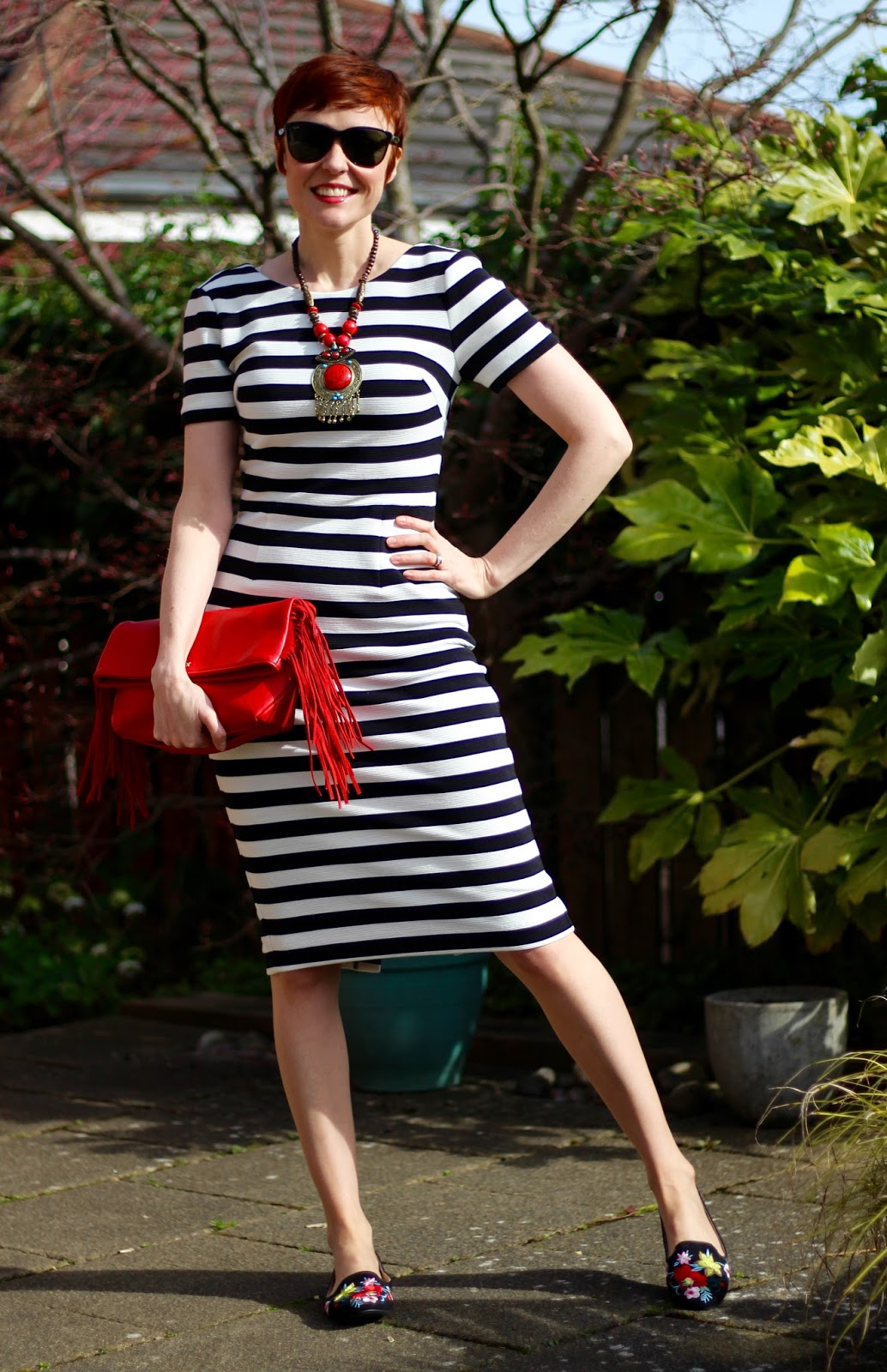 Boden Black and White Striped Dress, Red Fiorelli Bag, Embroidered Topshop Shoes | Spring style, over 40 | Fake Fabulous