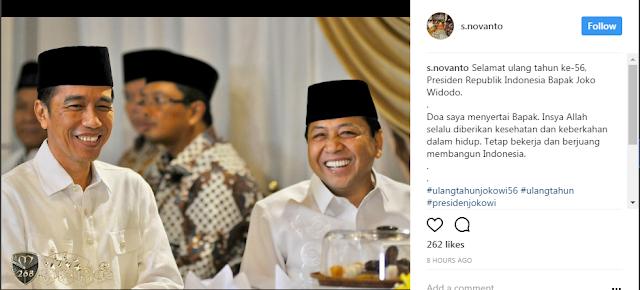 Ketua DPR Novanto mengucapkan selamat ulang tahun kepada presiden Jokowi