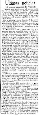 Recorte de La Vanguardia sobre el Torneo Nacional de Ajedrez Barcelona 1926, 6/10/1926
