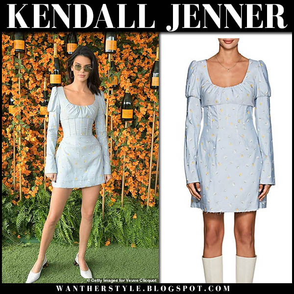 Kendall Jenner in light blue floral print mini dress philosophy di lorenzo serafini model style october 6