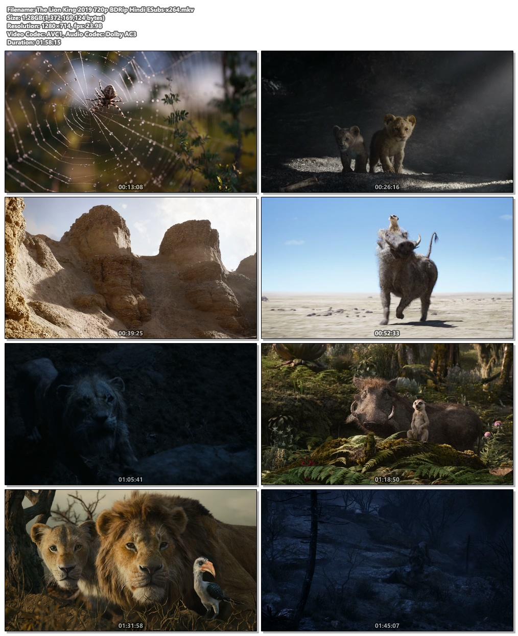 The Lion King 2019 720p BDRip Hindi ESubs x264 | 480p 300MB | 100MB HEVC Screenshot