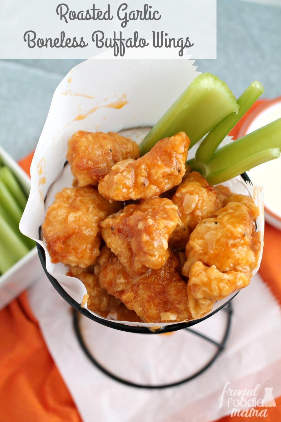 Frugal Foodie Mama Roasted Garlic Boneless Buffalo Wings