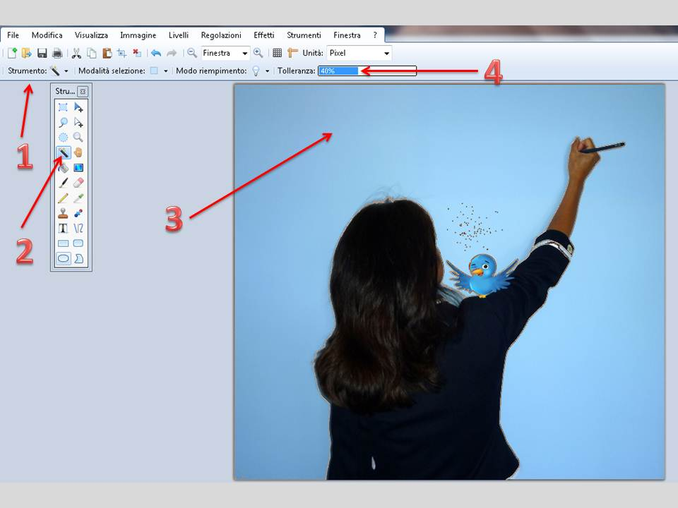 Rendere trasparente sfondo immagine con paint