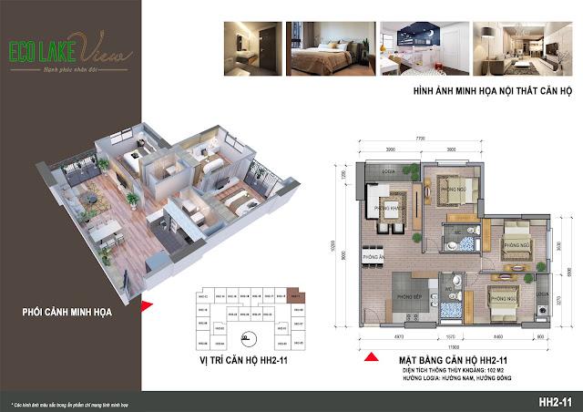 Thiết kế căn hộ 11 tòa HH-02 Eco Lake View