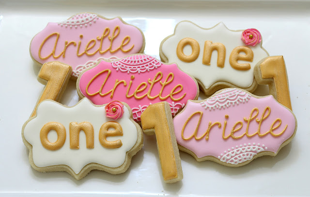 lace, pearl, gold cookies, girly first birthday party cookies