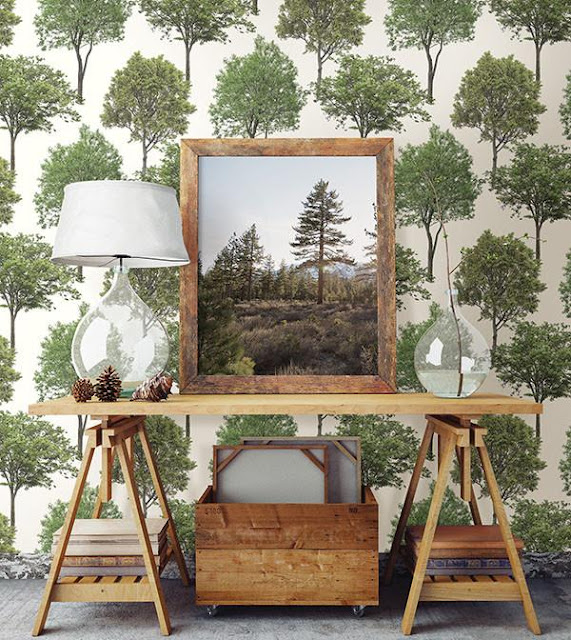 tree wallpaper and wood table with glass lamp