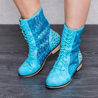 Cizme dama Floretta albastre confortabile • modlet