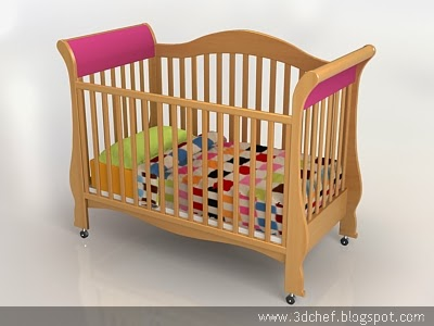 baby bed 3d model free
