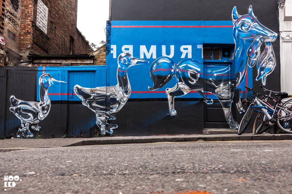 Fanakapan, Street Art Mural on Hanbury Street, London. Photo ©Hookedblog / Mark Rigney