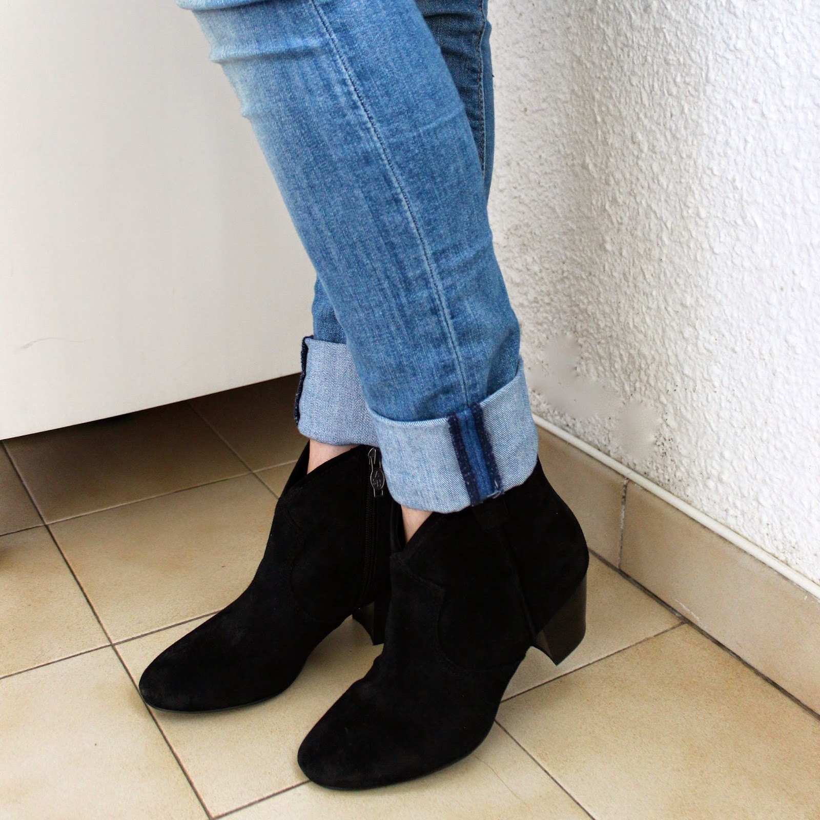 Black ash spiral boots booties with zip