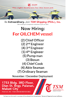 Seaman hiring crew for oil tanker ships rank chief officer, 2nd engineer, 3rd engineer, 4th engineer, pumpman, bosun, chief cook, able seaman, ordinary seaman deployment December 2018.