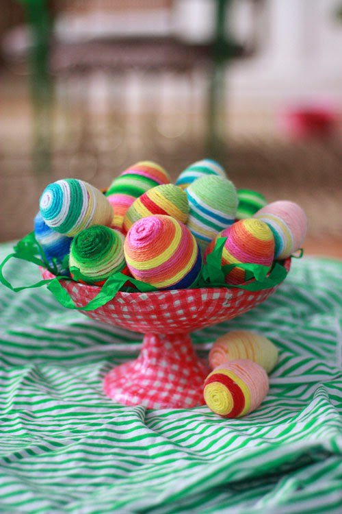 Easter egg decorative ideas Colored Threads (5)