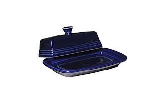 fiesta blue butter dish