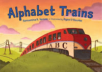 Cover of Alphabet Trains by Samantha Vamos.
