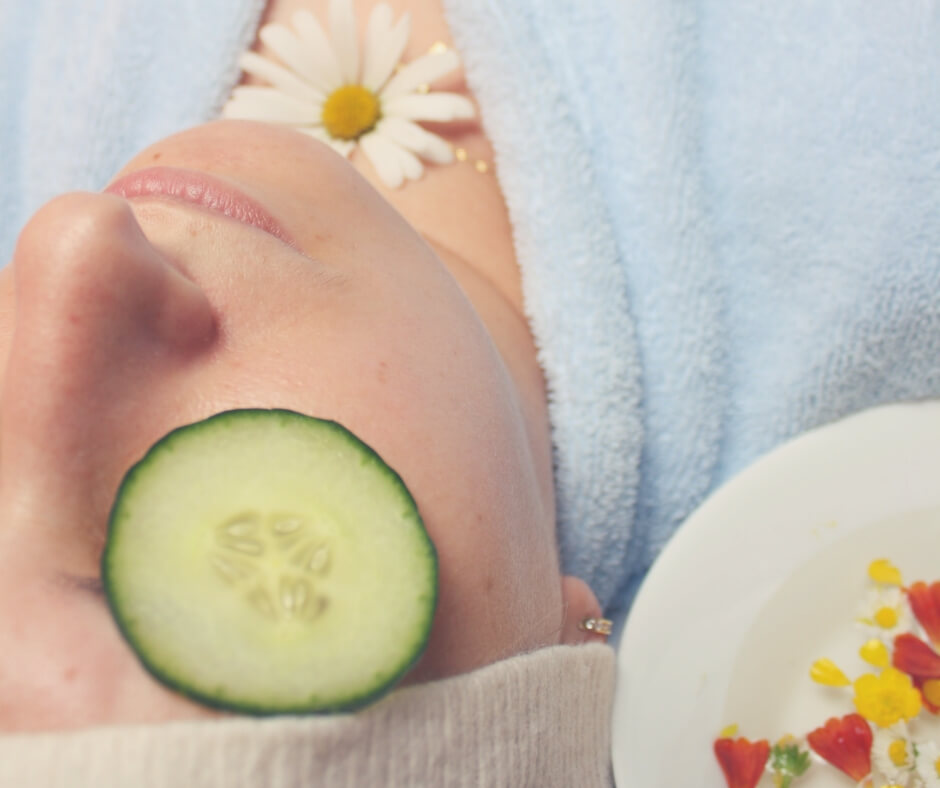 Post Comment Love 5th - 7th October | A woman lies with a blue robe on and a cucumber slice on her eye.
