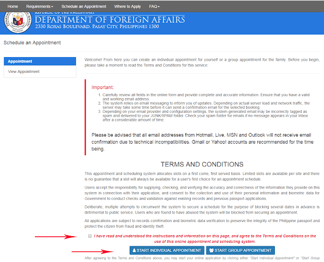 Individual Appointment or Group Appointment page