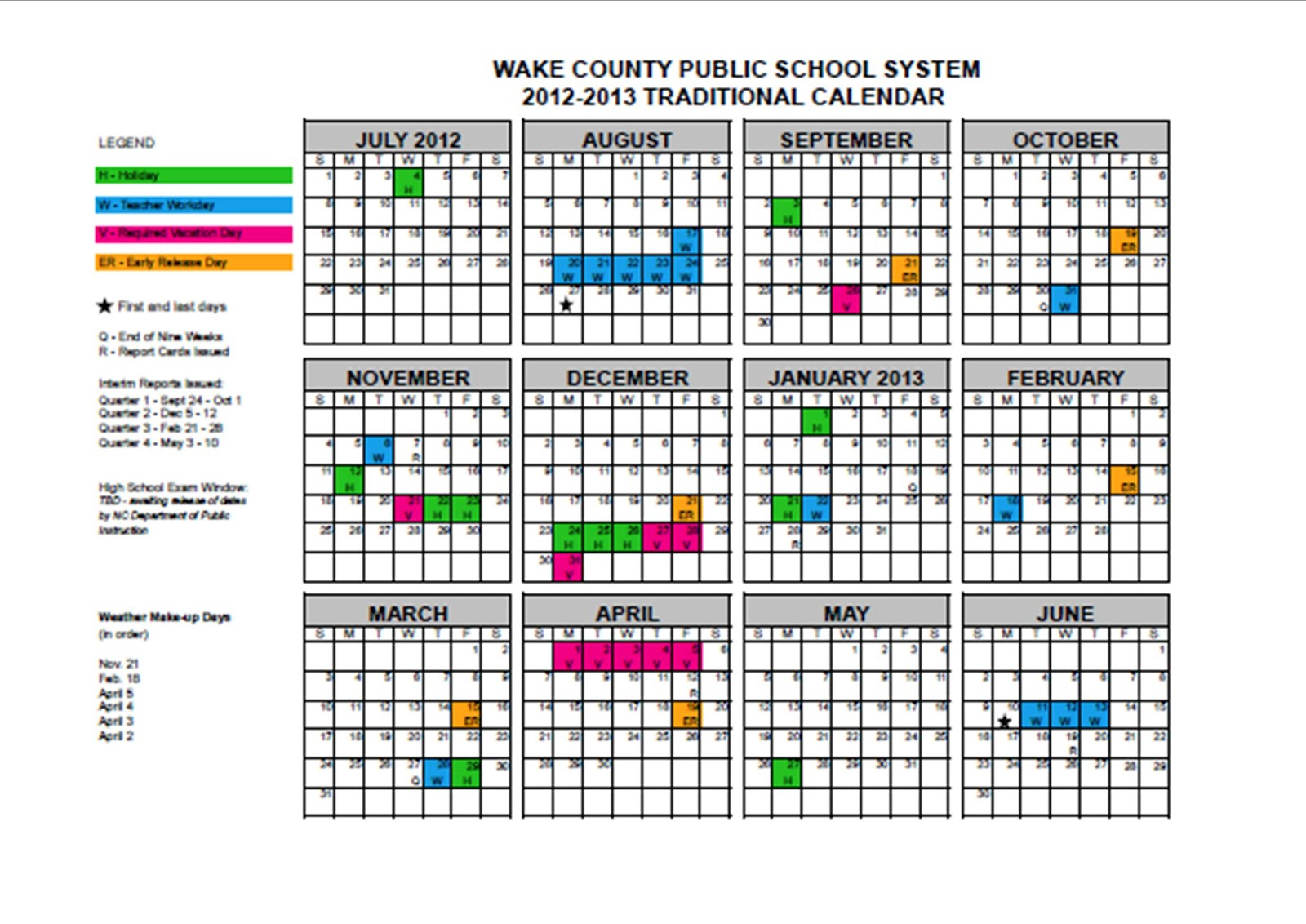 5th Grade at a Glance Wake County Traditional School Calendar