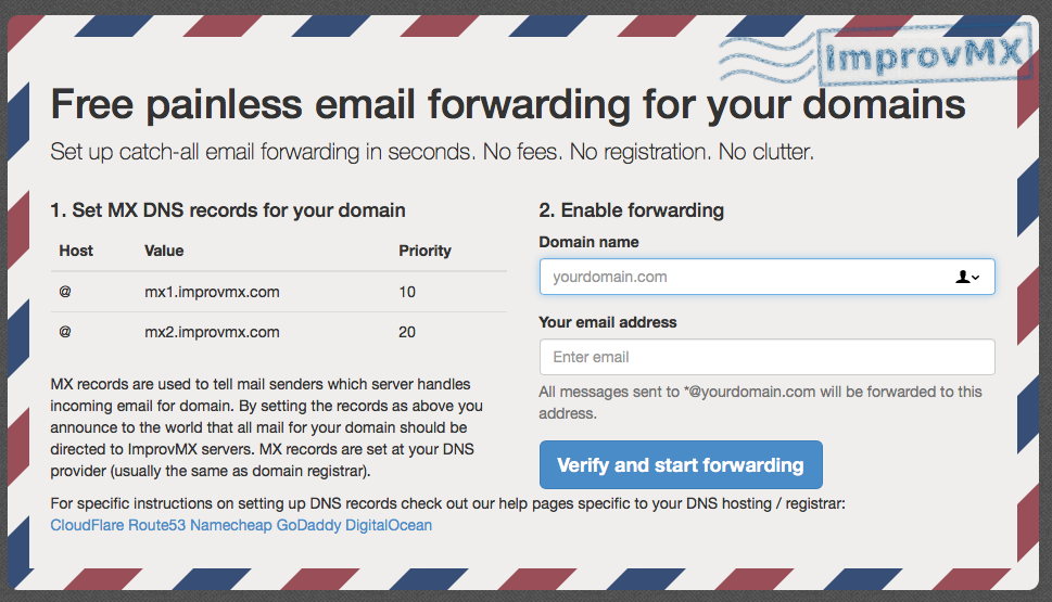 2 Cent Solutions: how change email on improvmx com