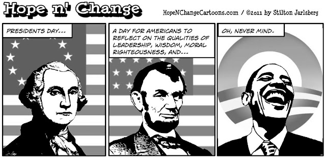 obama, obama jokes, political, humor, cartoon, conservative, hope n' change, hope and change, stilton jarlsberg, presidents day, washington, lincoln