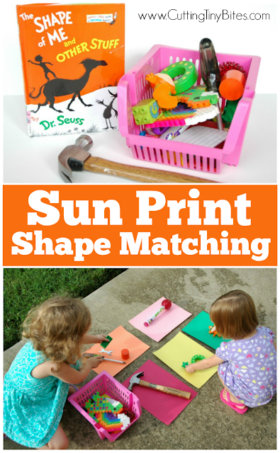Sun Print Shape Matching- Activity to use with the Dr. Seuss Book The Shape Of Me And Other Stuff. Fun for toddlers, preschoolers, or kindergarten.