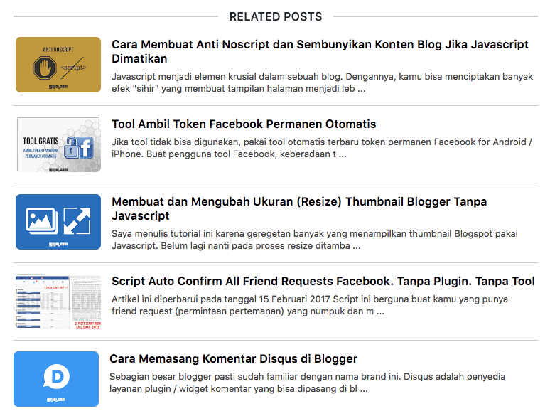 Related Post dengan Thumbnail dan Snippet Model List di Bawah ...